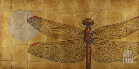 Dragonfly on Gold Stretched Canvas Print