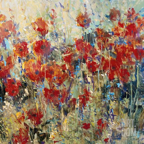 Red Poppy Field II Stretched Canvas Print