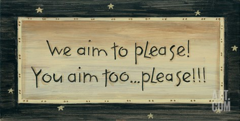 We Aim to Please Stretched Canvas Print