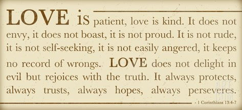 Love Is Patient Stretched Canvas Print