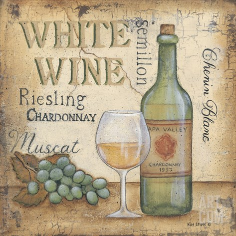 White Wine Stretched Canvas Print