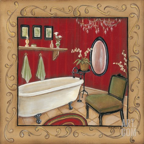 Red Bathroom Tub Stretched Canvas Print