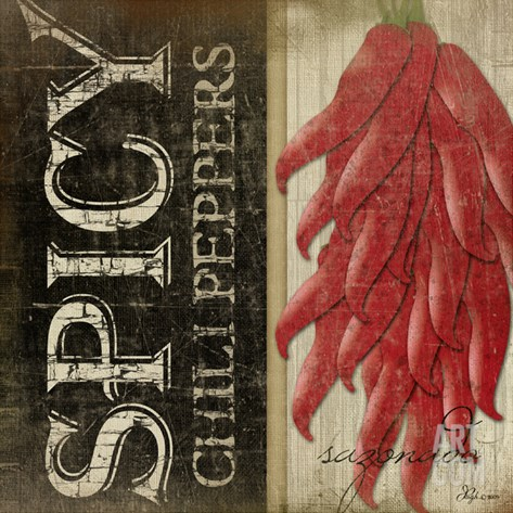 Spicy Chili Peppers Stretched Canvas Print