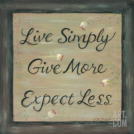 Live Simply - Give More Stretched Canvas Print