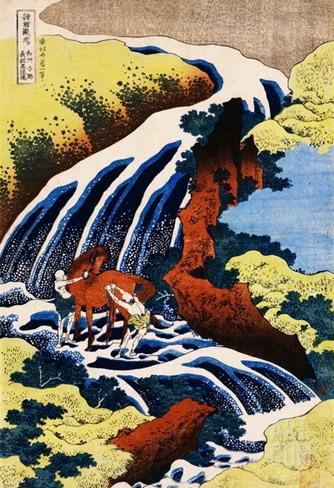 Yoshino Waterfall: Yoshitsune Washing His Horse, from the Series A Journey to the Waterfalls of All Stretched Canvas Print