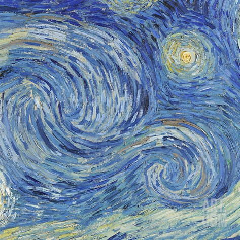 The Starry Night, June 1889 (Detail) Stretched Canvas Print